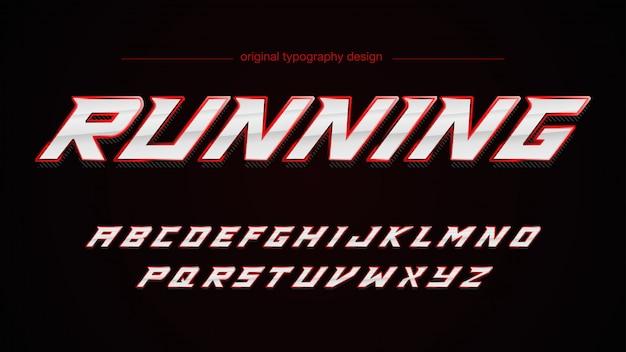 Sport red chrome typografie design
