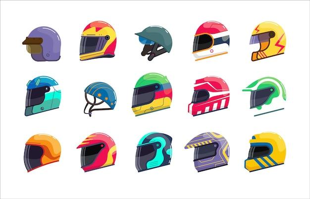 Sport-rennsport-uniform helm mit geschlossenem visier-set. sichere motorfahrer-kopfbedeckung für geschwindigkeitsrallye, motocross oder formel-schutzkopfbedeckung vektor-illustration isoliert auf weißem hintergrund