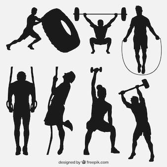 Sport silhouetten, die crossfit machen