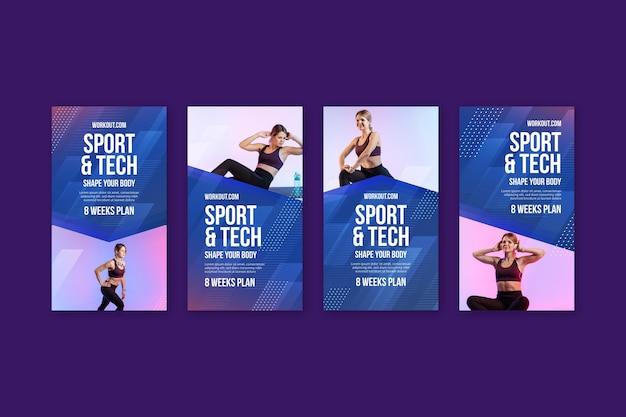 Sport & tech instagram geschichten Kostenlosen Vektoren