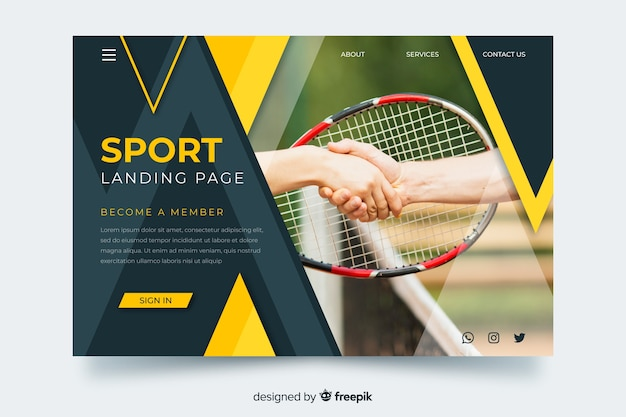 Sport tennis landing page