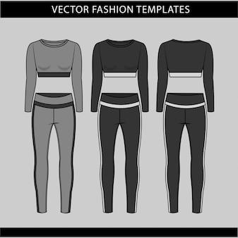 Sport tragen mode flache skizze vorlage, fitness out fit vorder- und rückansicht