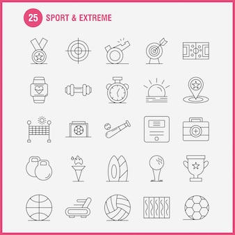 Sport und extreme linie icons