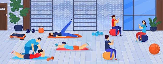 Sport und fitness in der turnhalle illustration.