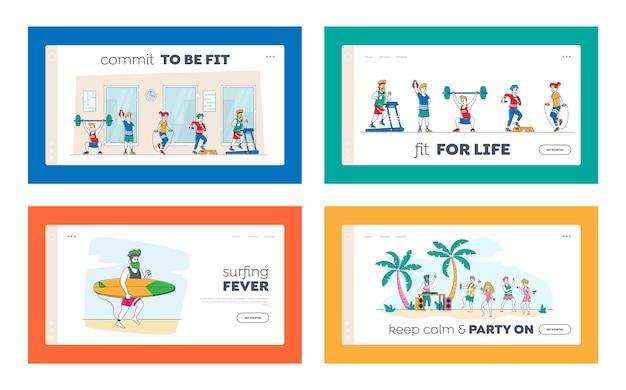 Sport und sommerzeit erholung landing page template set. männliche weibliche charaktere, die im fitnessstudio mit langhantel, springseil und laufband, surfen, strandparty trainieren. lineare menschen