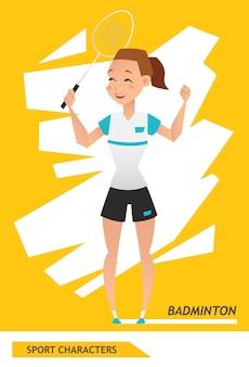 Sport zeichen badmintonspieler
