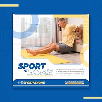 Sport zu hause quadrat flyer