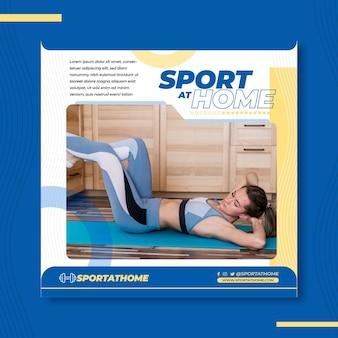 Sport zu hause quadratische flyer vorlage