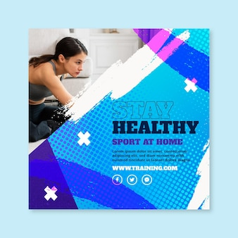 Sport zu hause quadratischer flyer-vorlage
