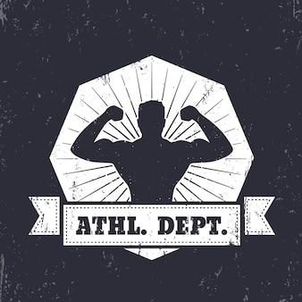 Sportabteilung. emblem, t-shirt design mit posierendem athleten, illustration