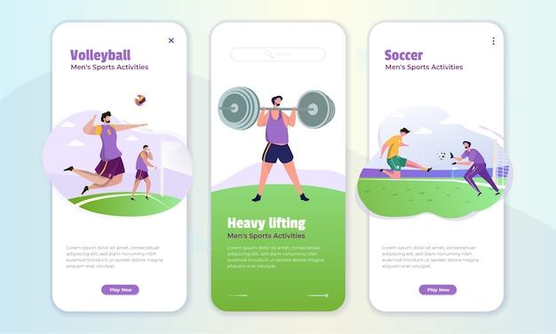 Sportaktivitäten für männer an bord des bildschirms