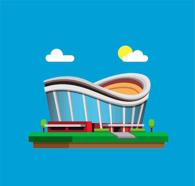 Sportarena-stadiongebäude im tageskonzept im flachen karikatur
