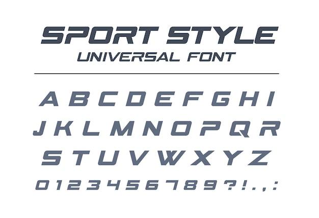 Sportart universalschrift. schnelle geschwindigkeit, futuristisch, technologie, zukünftiges alphabet. buchstaben und zahlen für militär-, industrie-, elektroauto-rennlogo. moderne minimalistische schrift