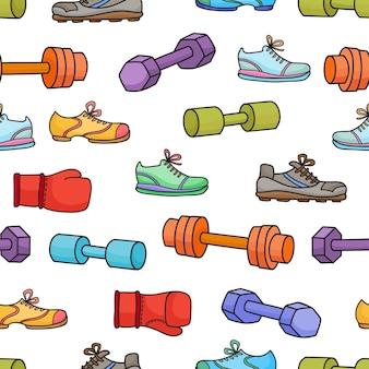 Sportausrüstung, elemente eines gesunden lebensstils. nahtloses muster mit einfachen karikaturhanteln, boxhandschuhen und turnschuhen lokalisiert auf weißem hintergrund.