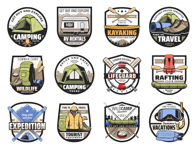 Sportausrüstung für camping, reisen und tourismus