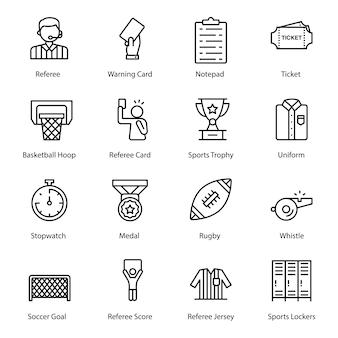 Sportausrüstung linie icons pack