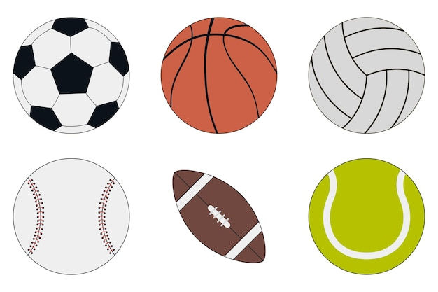 Sportbälle icon set fußball basketball volleyball baseball american football und tennis