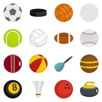Sportbälle symbole inmitten einer flachen stil