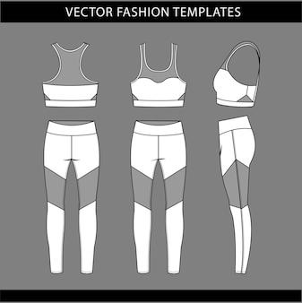 Sportbekleidung mode flache skizze vorlage, fitness out fit vorder- und rückansicht.