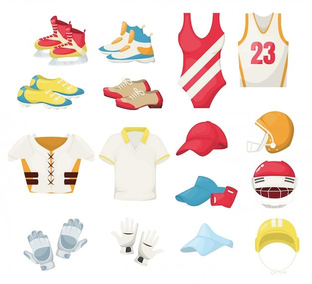 Sportbekleidung und ausrüstung. training fitness turnschuhe und kleidung. workout fit sportswear laufen schwimmen basketball tennis hockey golf schutzuniform
