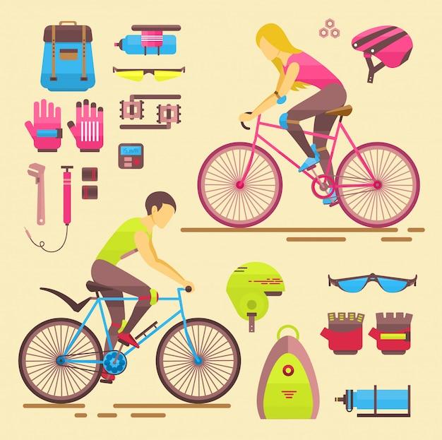 Sportbiker mädchen und jungen menschen auf fahrrädern aktivität spaß frau und mann auf fahrrädern. städtischer weiblicher radsport und bikerelementereitersportler-lebensstillebensradsport