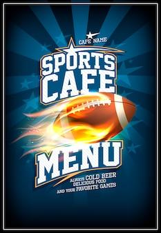 Sportcafé-menükarte mit rugbyball in einer feurigen flamme