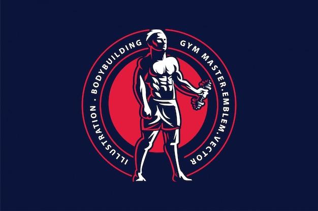 Sportemblem auf dunklem hintergrund