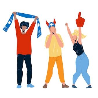 Sportfans jubeln und schreien zusammen vektor. junge männer und frauen sportfans mit sportlichen attributen schal, mütze und hand jubeln team. charaktere sportveranstaltung flache cartoon illustration