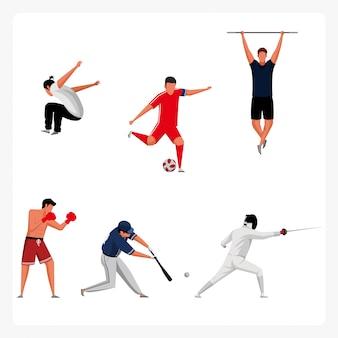 Sportfiguren-Pack im flachen Design
