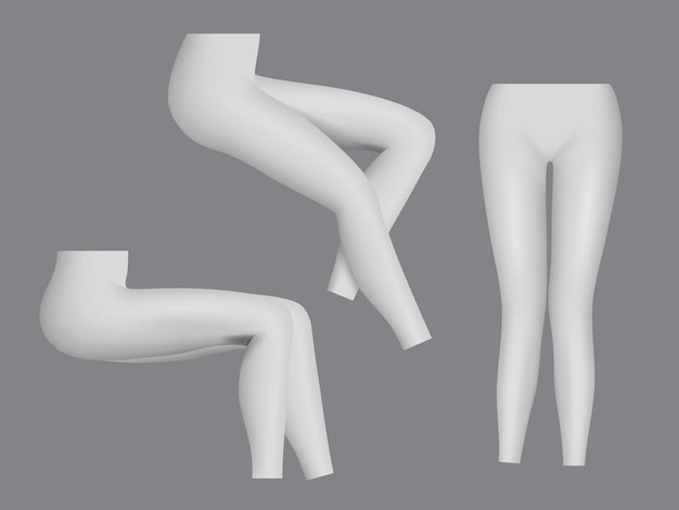 Sportgamaschen. frau enge kleidung für beine fitness mode realistische vorlage.