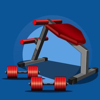Sportgeräte für kraftsport, fitnesscenter. kurzhanteln und ein sporttrainer, bankdrücken zum gewichtheben. illustration