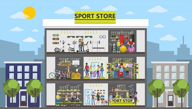 Sportgeschäft stadtgebäude mit kunden und ausrüstung.