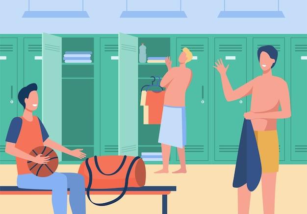 Sportgymnastik-umkleideraum mit flacher vektorillustration der männer. männliche fußballmannschaft der karikatur, die kleidung für das training ändert. fußballmannschaft und sportspielkonzept