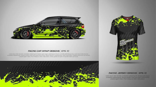 Sporthintergrund für rennwagenverpackung und -t-shirt