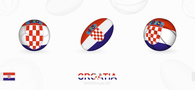 Sportikonen für fußball, rugby und basketball mit der flagge kroatiens.
