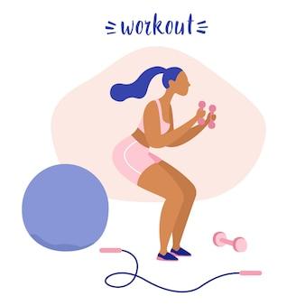 Sportive frau, die mit dummköpfen trainiert. frau, die training tut. gewichtsverlust, training, fitnessstudio. flache vektor-illustration.