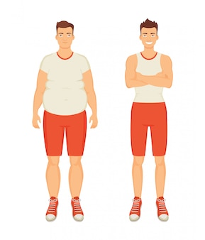 Sportive und fette personenillustration des mannes