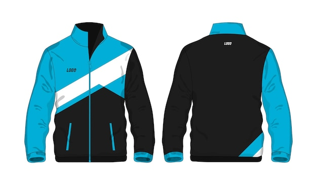 Sportjacke blaue und schwarze vorlage für design auf weißem hintergrund. vektorillustration env 10.