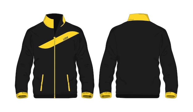 Sportjacke gelbe und schwarze schablone