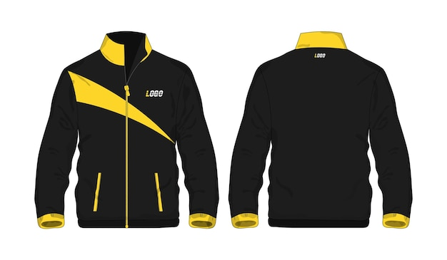 Sportjacke gelbe und schwarze vorlage für design auf weißem hintergrund. vektorillustration env 10.