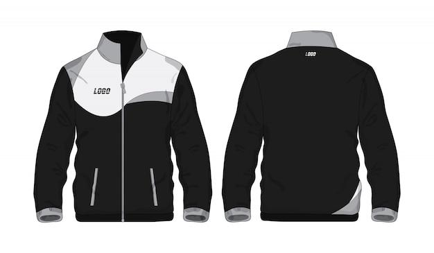 Sportjacke graues und schwarzes schablonenhemd für design auf weißem hintergrund.