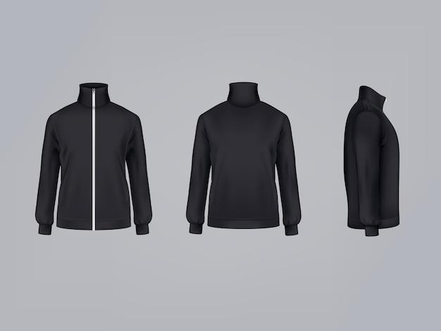 Sportjacke oder schwarzes sweatshirt mit langen ärmeln