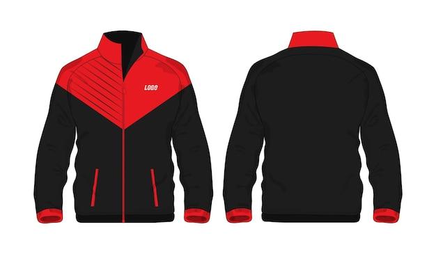 Sportjacke rotes und schwarzes vorlagenhemd für design auf weißem hintergrund. vektor