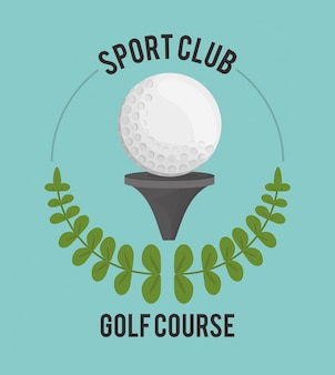 Sportklub-golfplatzball auf t-stück aufkleber
