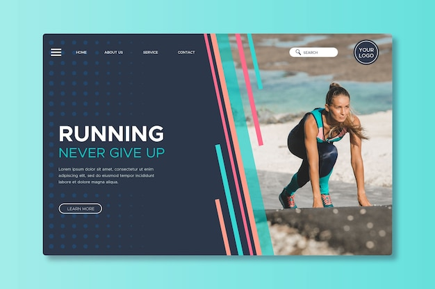 Sportlandingpage mit bild