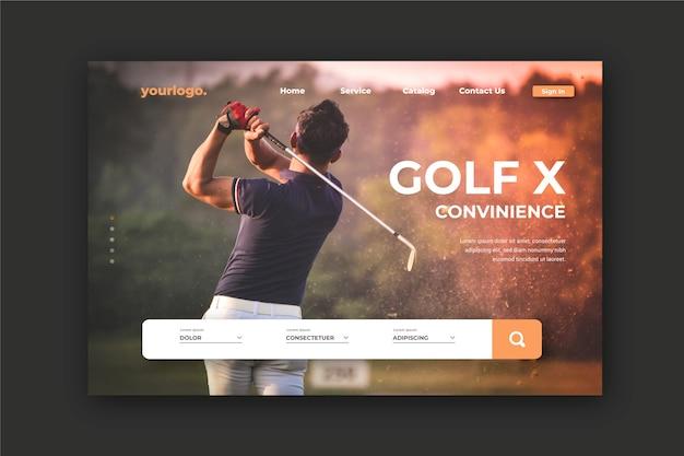 Sportlandungsseite mit dem foto des mannes golf spielend