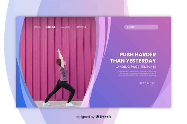 Sportlandungsseitenschablone mit der frau, die yogafoto tut
