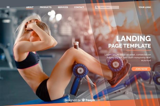 Sportlandungsseitenschablone mit foto