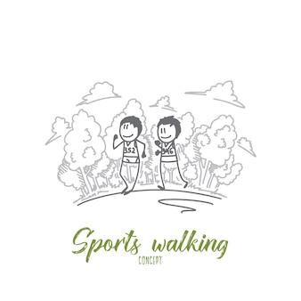 Sportlaufkonzeptillustration Premium Vektoren