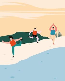 Sportler am strand, die sport treiben
